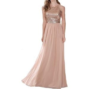 Dresses & Skirts - Rose Gold Chiffon Evening Gown / Bridesmaid Dress